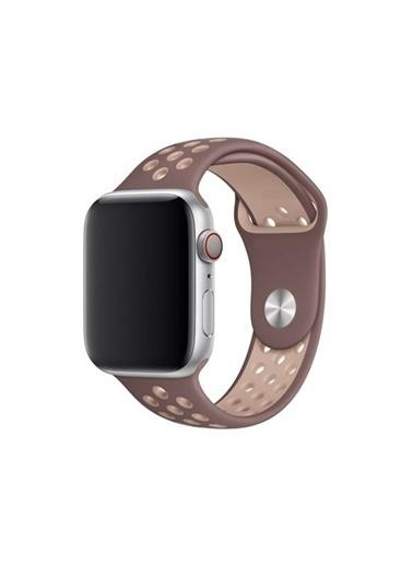 Apple Apple Watch 2 3 4 5 6 Se 42-44Mm Uyumlu Delikli Spor Silikon Kordon Kayış Kahverengi - Bej Bej